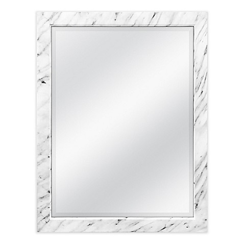 image of 18.5-Inch x 22.5-Inch Faux Marble Wall Mirror in White