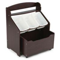 Tot Tutors 3-Bin Storage Organizer with Rolling Toy Chest in Espresso