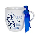 "Everyday White by Fitz and Floyd® ""Seas the Day"" Mug in White/Blue"