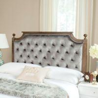 Safavieh Rustic Wood Tufted Velvet Full Headboard in Grey