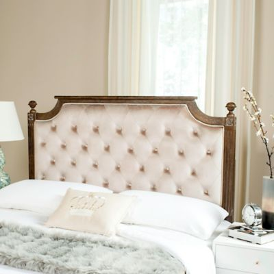 safavieh rustic wood tufted velvet queen headboard in beige