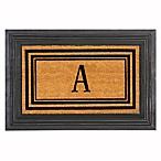 "Flocked Monogram Letter ""A"" Door Mat Insert in Black"