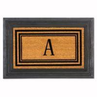 "Flocked Monogram Letter ""A"" Door Mat Insert in Black"