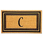 "Flocked Monogram Letter ""C"" Door Mat Insert in Black"