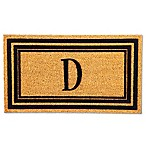 "Flocked Monogram Letter ""D"" Door Mat Insert in Black"