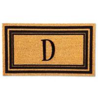 """Flocked Monogram Letter """"D"""" Door Mat Insert in Black"""