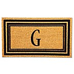 "Flocked Monogram Letter ""G"" Door Mat Insert in Black"