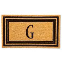 """Flocked Monogram Letter """"G"""" Door Mat Insert in Black"""