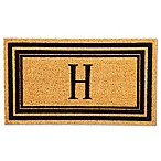 "Flocked Monogram Letter ""H"" Door Mat Insert in Black"