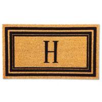 """Flocked Monogram Letter """"H"""" Door Mat Insert in Black"""