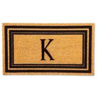 """Flocked Monogram Letter """"K"""" Door Mat Insert in Black"""