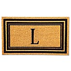 "Flocked Monogram Letter ""L"" Door Mat Insert in Black"