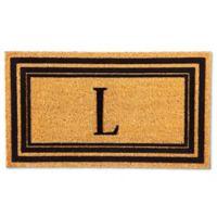 """Flocked Monogram Letter """"L"""" Door Mat Insert in Black"""