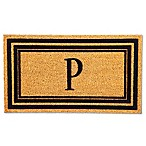 "Flocked Monogram Letter ""P"" Door Mat Insert in Black"