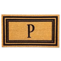 "Flocked Monogram Letter ""P"" Door Mat Insert in Black"