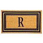 "Flocked Monogram Letter ""R"" Door Mat Insert in Black"