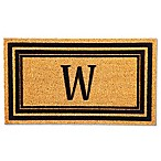 "Flocked Monogram Letter ""W"" Door Mat Insert in Black"