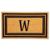"Flocked Monogram Letter ""W"" Door Mat Insert in Black"