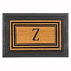 "Flocked Monogram Letter ""Z"" Door Mat Insert in Black"