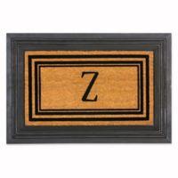 """Flocked Monogram Letter """"Z"""" Door Mat Insert in Black"""