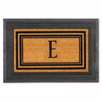 """Flocked Monogram Letter """"E"""" Door Mat Insert in Black"""