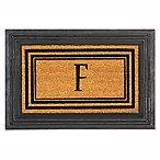 "Flocked Monogram Letter ""F"" Door Mat Insert in Black"