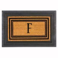 """Flocked Monogram Letter """"F"""" Door Mat Insert in Black"""
