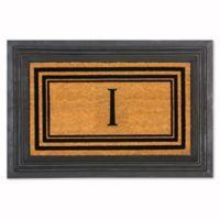 """Flocked Monogram Letter """"I"""" Door Mat Insert in Black"""