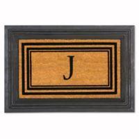 """Flocked Monogram Letter """"J"""" Door Mat Insert in Black"""