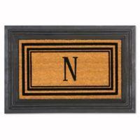 """Flocked Monogram Letter """"N"""" Door Mat Insert in Black"""