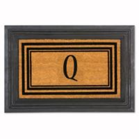 """Flocked Monogram Letter """"Q"""" Door Mat Insert in Black"""