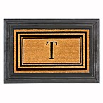 "Flocked Monogram Letter ""T"" Door Mat Insert in Black"