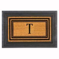 """Flocked Monogram Letter """"T"""" Door Mat Insert in Black"""