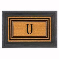 "Flocked Monogram Letter ""U"" Door Mat Insert in Black"