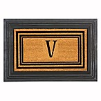 "Flocked Monogram Letter ""V"" Door Mat Insert in Black"