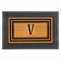 """Flocked Monogram Letter """"V"""" Door Mat Insert in Black"""