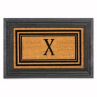 "Flocked Monogram Letter ""X"" Door Mat Insert in Black"