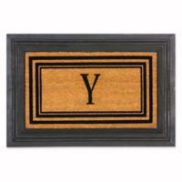 """Flocked Monogram Letter """"Y"""" Door Mat Insert in Black"""