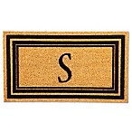 "Flocked Monogram Letter ""S"" Door Mat Insert in Black"