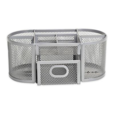 Org Oval Wire Mesh Desk Organizer In Silver