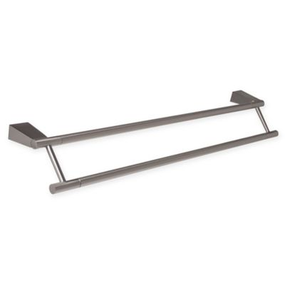 gatco bleu 24inch double towel bar in satin nickel
