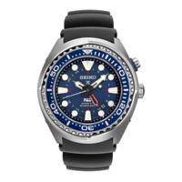 Seiko Men's 47mm Kinetic GMT Diver Prospex Watch in Stainless Steel with Black Silicone Strap