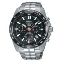 Pulsar® Men's 45mm Solar Chronograph Watch in Stainless Steel with Black Dial