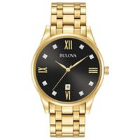 Bulova Men's 40mm Diamond Watch in Goldtone Stainless Steel with Black Dial