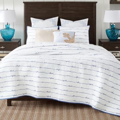 coastal living sand script fullqueen quilt set in blue - Quilted Bed Frames