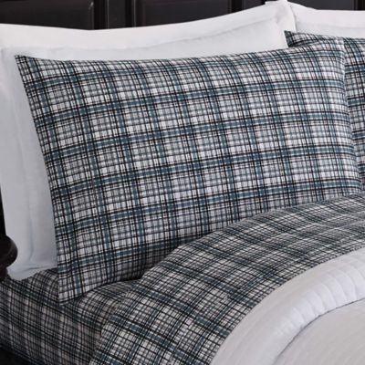 london fog suffolk king sheet set in grey plaid