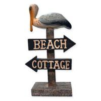 Danya B. Chesapeake Bay Beach Cottage Pelican Figurine in Washed Brown/White