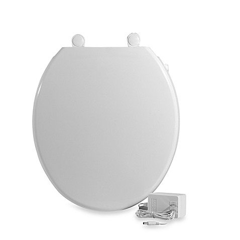 ultratouch heated round toilet seat in white bed bath
