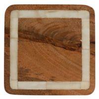 Thirstystone® Square Mango & Bone Coaster in Brown/White