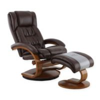 Oslo Breathable Air Faux Leather Swivel Recliner and Ottoman Set in Beige